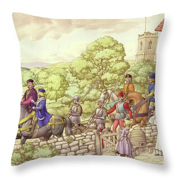 Prince Edward Riding From Ludlow To London Throw Pillow by Pat Nicolle