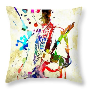 Prince In Concert Throw Pillow by Daniel Janda