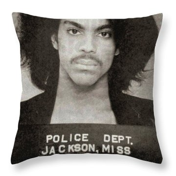 Prince Mug Shot Vertical Throw Pillow by Tony Rubino