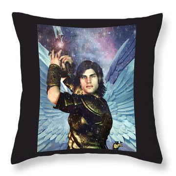 Throw Pillow featuring the painting Prince Of The Heavenly Host Saint Michael by Suzanne Silvir