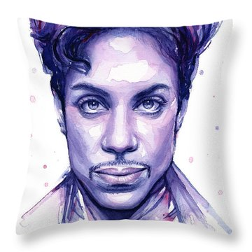 Prince Purple Watercolor Throw Pillow by Olga Shvartsur