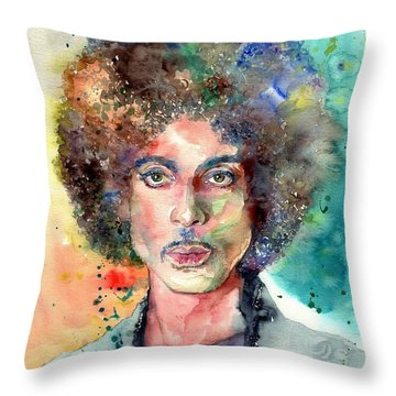 Prince Rogers Nelson Young Portrait Throw Pillow