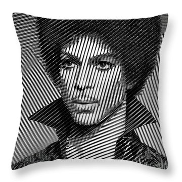 Prince - Tribute In Black And White Sketch Throw Pillow