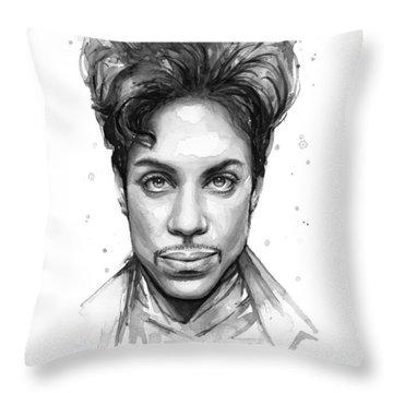 Prince Watercolor Portrait Throw Pillow