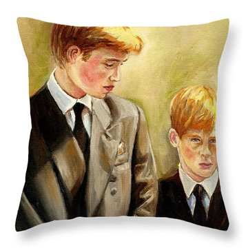 Prince William And Prince Harry Throw Pillow by Carole Spandau