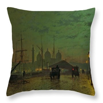 Prince's Dock Hull Throw Pillow by John Atkinson Grimshaw