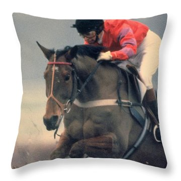Princess Anne Riding Cnoc Na Cuille At Kempten Park Throw Pillow