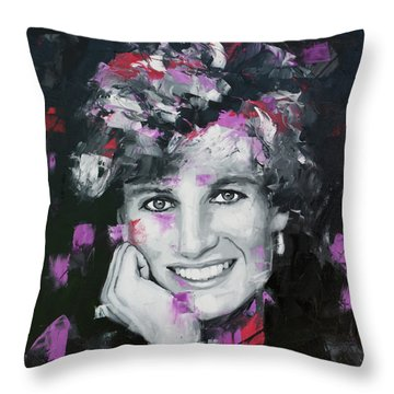 Throw Pillow featuring the painting Princess Diana by Richard Day