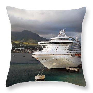 Princess Emerald Docked At Barbados Throw Pillow