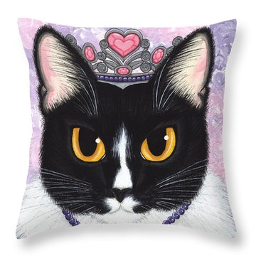 Throw Pillow featuring the painting Princess Fiona -tuxedo Cat by Carrie Hawks