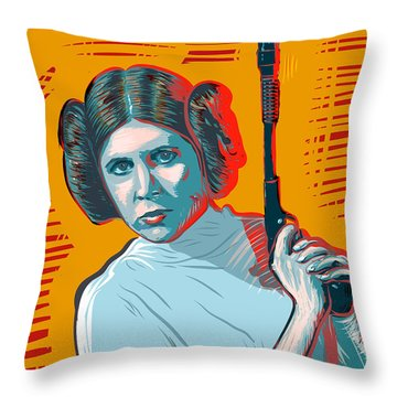 Throw Pillow featuring the digital art Princess Leia by Antonio Romero