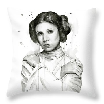 Princess Leia Portrait Carrie Fisher Art Throw Pillow