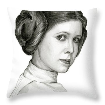 Princess Leia Watercolor Portrait Throw Pillow