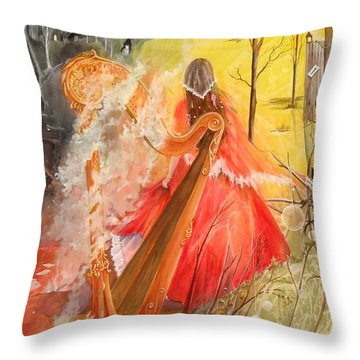 Throw Pillow featuring the painting Princess Rebecca - Keeper Of The Golden Harp by Jackie Mueller-Jones