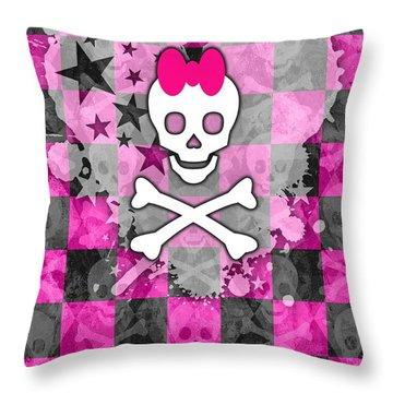 Princess Skull Throw Pillow by Roseanne Jones