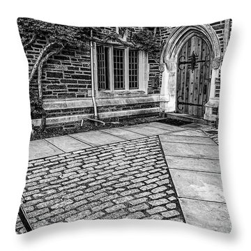 Throw Pillow featuring the photograph Princeton University Foulke Hall Bw by Susan Candelario