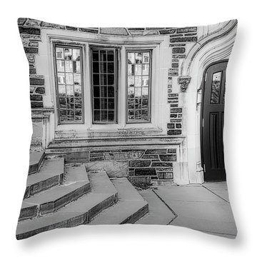 Throw Pillow featuring the photograph Princeton University Lockhart Hall Bw by Susan Candelario