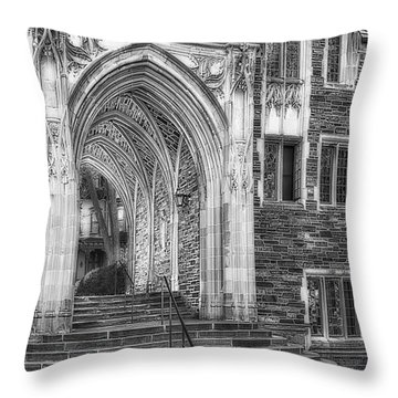 Throw Pillow featuring the photograph Princeton University Lockhart Hall Dorms Bw by Susan Candelario