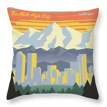 Denver Poster - Vintage Travel Throw Pillow