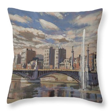 Printemps Sur Le Pont Fragnee Liege Throw Pillow
