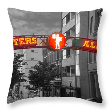 Printers Alley Sign Throw Pillow by Robert Hebert