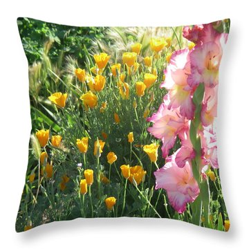 Priscilla With Poppies Throw Pillow