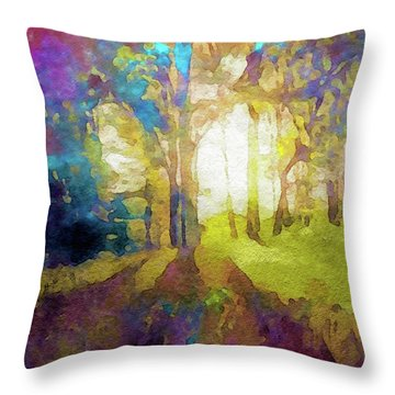 Prismatic Forest Throw Pillow