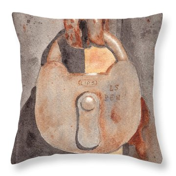 Prison Lock Throw Pillow by Ken Powers