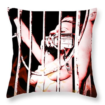 Throw Pillow featuring the painting Prisoner by Tbone Oliver