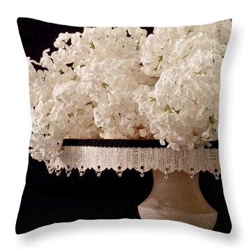 Pristine Lilacs On A Music Pedestal Throw Pillow by Sandra Foster