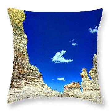 Pristine Sky Meets Historic Rocks Throw Pillow