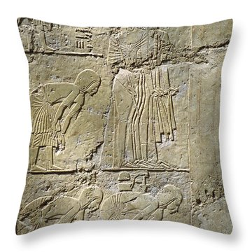 Private Tombs -painting West Wall Tomb Of Ramose T55 - Stock Image - Fine Art Print - Thebes Throw Pillow