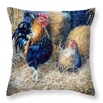 Prized Rooster Throw Pillow by Hanne Lore Koehler