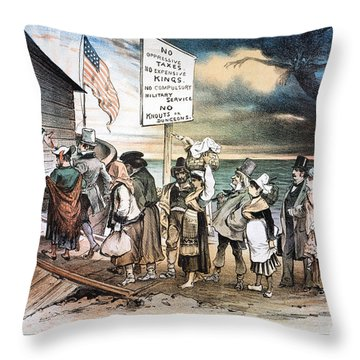 Pro-immigration Cartoon Throw Pillow by Granger
