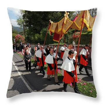 Procession In Azores Islands Throw Pillow by Gaspar Avila