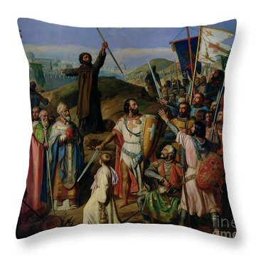Procession Of Crusaders Around Jerusalem Throw Pillow by Jean Victor Schnetz