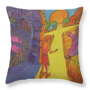 Prodigal Son Parable Painting By Bertram Poole Throw Pillow