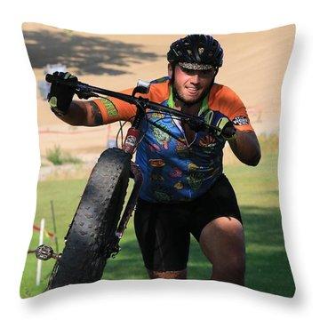 Professional Cyclocross Bike Race Throw Pillow