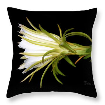 Profile Night Blooming Cereus Throw Pillow by Barbara Chichester