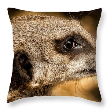 Profile Of A Meerkat Throw Pillow