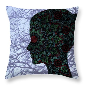 Profile Portrait Of Young Beautiful Woman. Throw Pillow