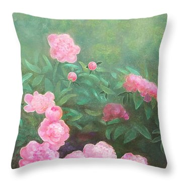 Throw Pillow featuring the mixed media Profuse Peony Blossoms by Nancy Lee Moran