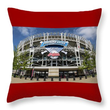 Throw Pillow featuring the photograph Progressive Field by Dale Kincaid