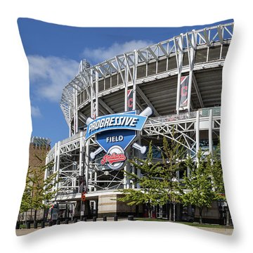 Throw Pillow featuring the photograph Progressive Field In Cleveland Ohio by Dale Kincaid