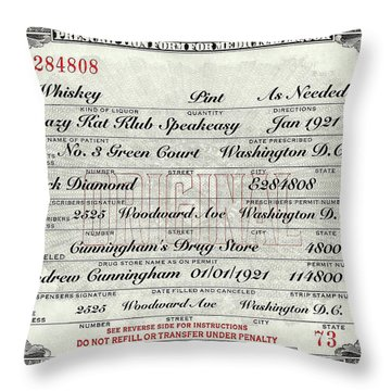 Throw Pillow featuring the photograph Prohibition Prescription Certificate Krazy Kat Klub by David Patterson