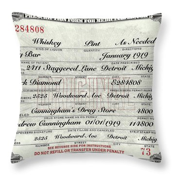 Throw Pillow featuring the photograph Prohibition Prescription Certificate My Bar, by David Patterson
