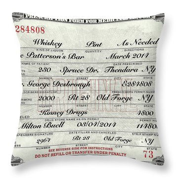 Throw Pillow featuring the photograph Prohibition Prescription Certificate Personalized by David Patterson