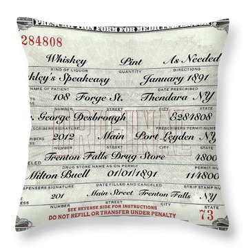 Throw Pillow featuring the photograph Prohibition Prescription Certificate Speakeasy by David Patterson
