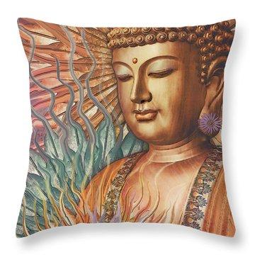 Proliferation Of Peace - Buddha Art By Christopher Beikmann Throw Pillow