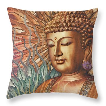 Proliferation Of Peace - Buddha Art By Christopher Beikmann Throw Pillow